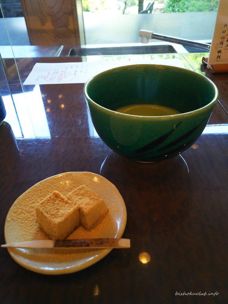 自家製お菓子(葛きり)、抹茶