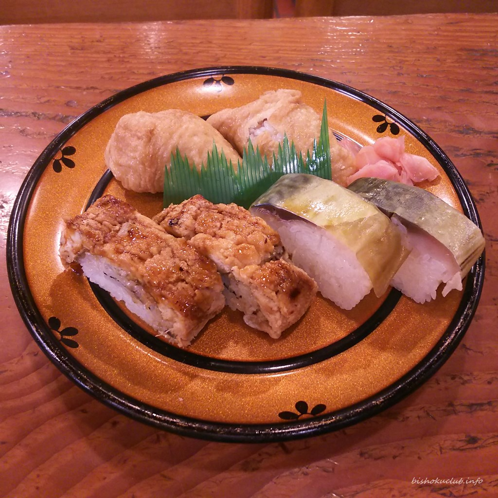 寿司 乙羽の穴子棒寿司、本姿鯖一本、いなり寿司