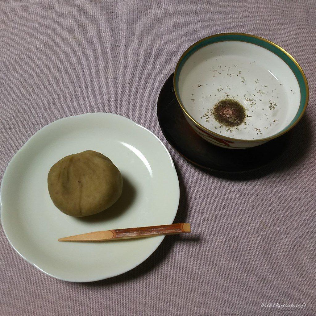 老松 嵐山店の栗しぼりと原了郭の御香煎