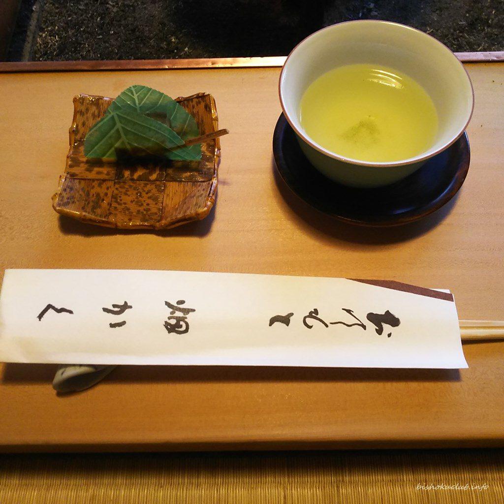 畑かくの緑茶と和菓子