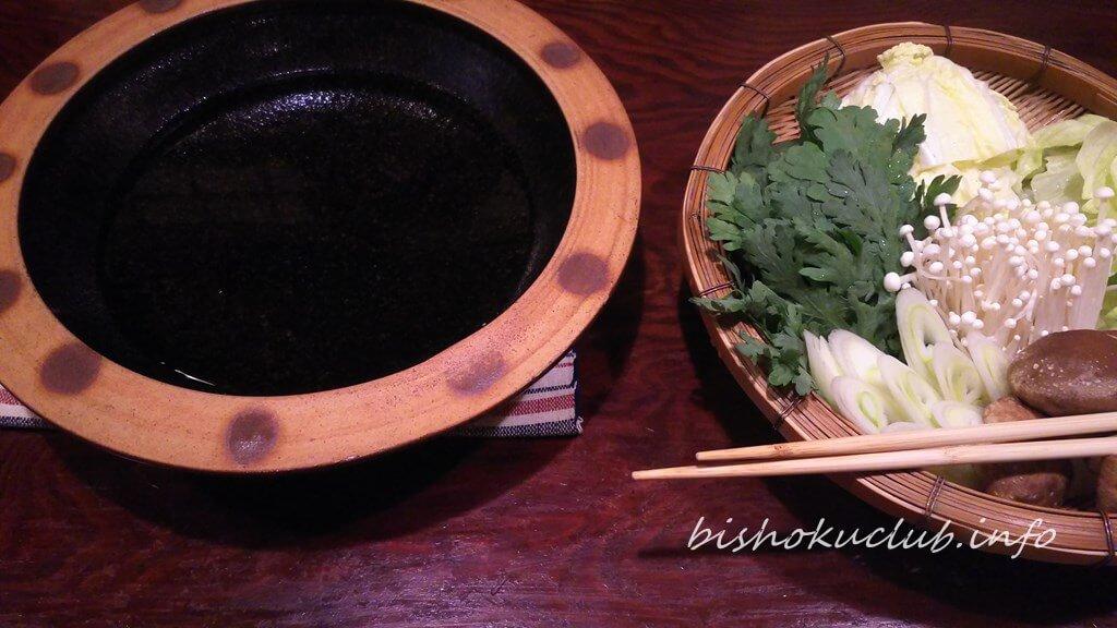 火鍋の下部と野菜